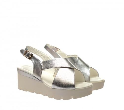 Sandale dama argintii ortopedice toc 6,5 cm Anny