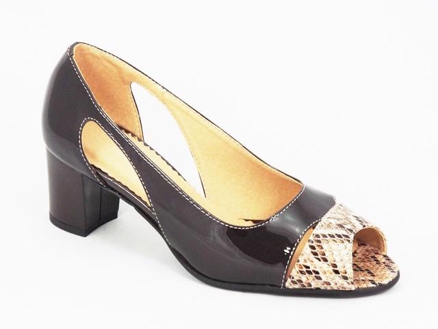 Sandale dama piele maro toc 5,5 cm Elysa