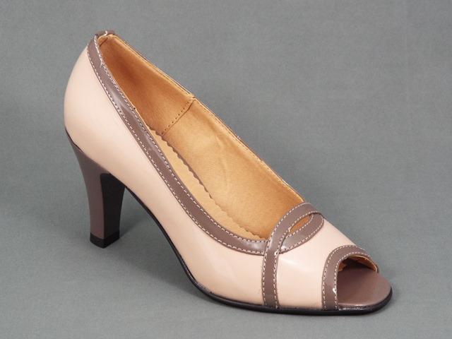 Pantofi dama piele lac bej toc 8 cm Rona