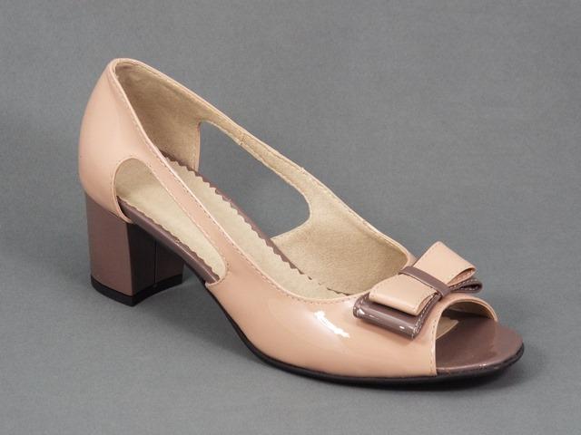 Sandale dama piele lac bej toc 5 cm Loana