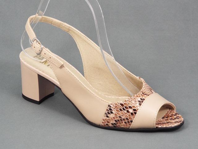 Sandale dama piele bej toc 5,5 cm Elysa