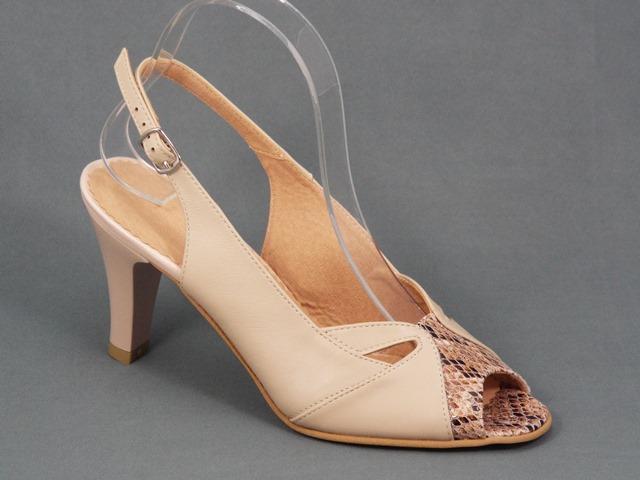 Sandale dama piele bej toc 9 cm Myna