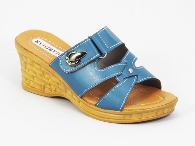 Papuci dama albastri ortopedici toc 7 cm Xonya