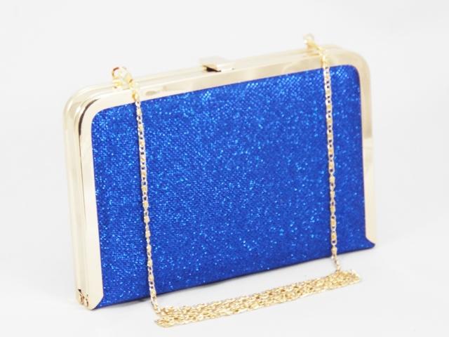 Geanta dama clutch albastru metalizat Feerya