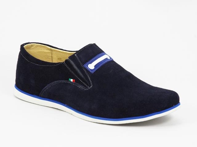 Pantofi barbati piele intoarsa albastri sport Fred
