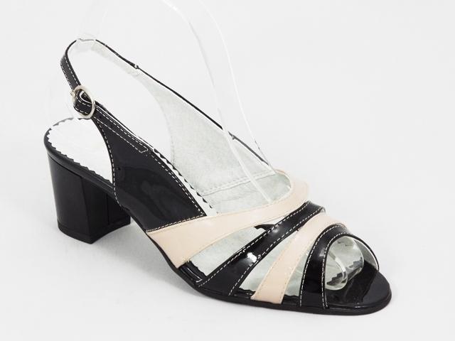 Sandale dama piele negre cu bej toc 6 cm Ryana