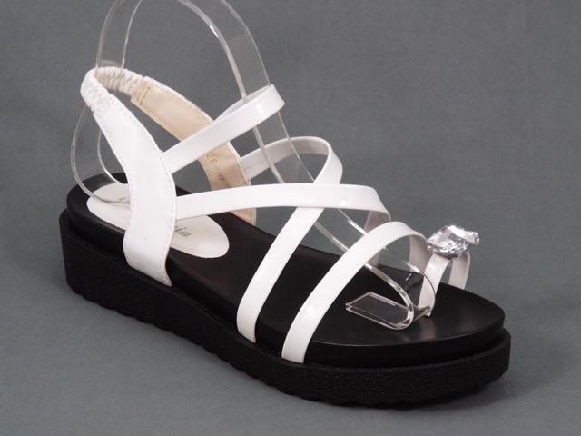 Sandale dama albe lac Ella
