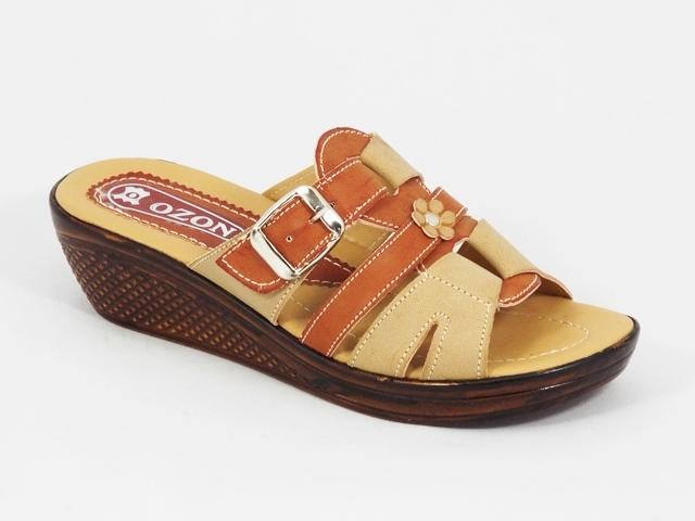 Papuci dama bej cu maro floare Lolla