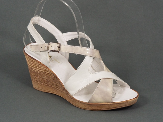 Sandale dama albe ortopedice toc 7,5 cm Gyna