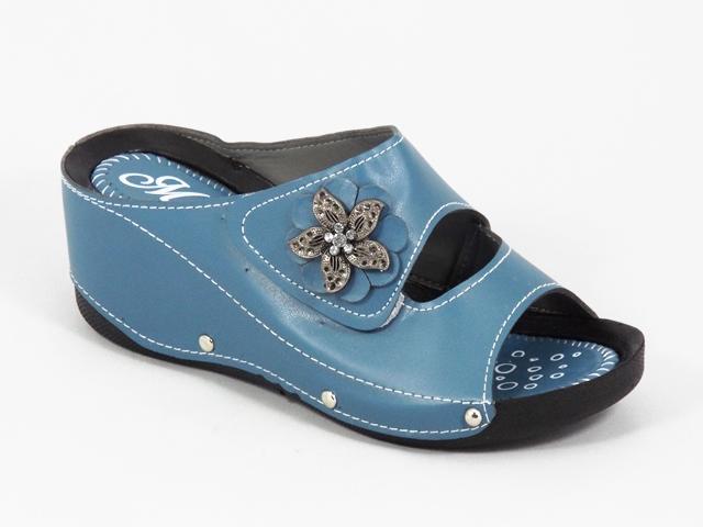 Papuci dama albastri ortopedici toc 6 cm Myna