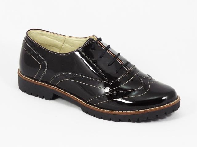 Pantofi dama piele negri lac Glenna