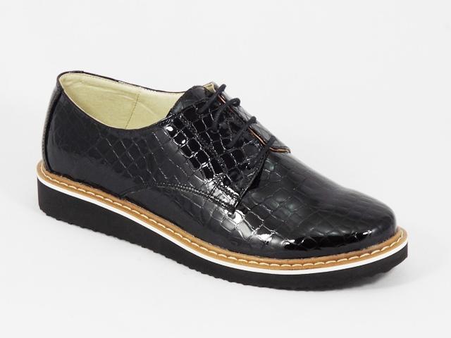 Pantofi dama piele negri lac croco Aline