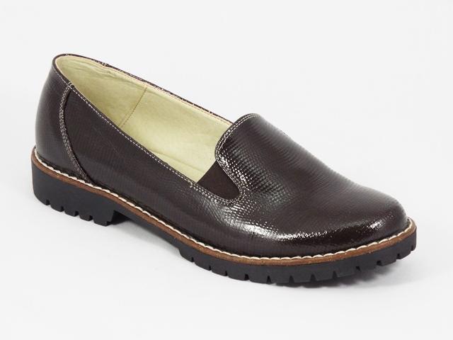Pantofi dama piele maro lac Ileana