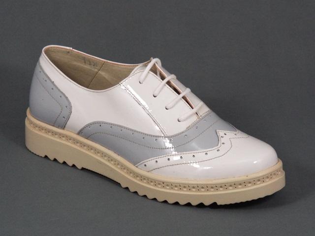 Pantofi dama piele albi cu gri lac Hanna
