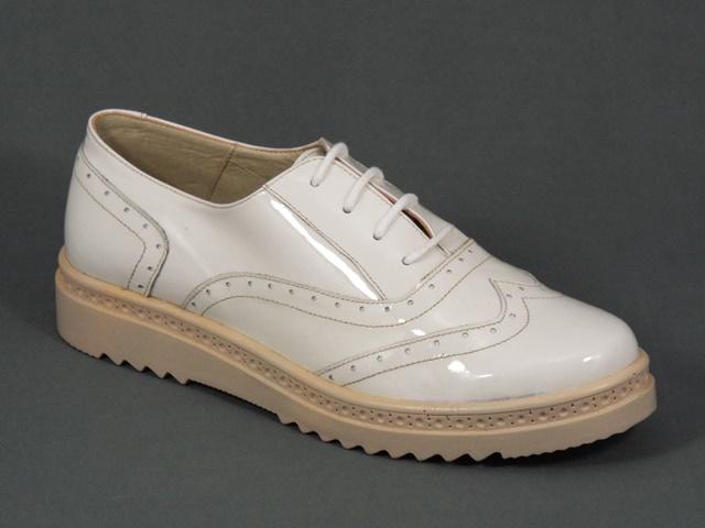 Pantofi dama piele albi lac Hanna