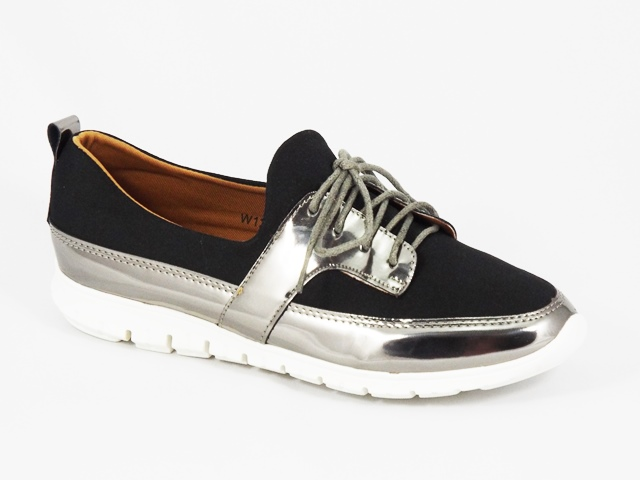 Pantofi dama sport negri cu argintiu Elyna