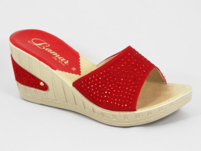 Papuci dama rosii ortopedici toc 8 cm Maryna