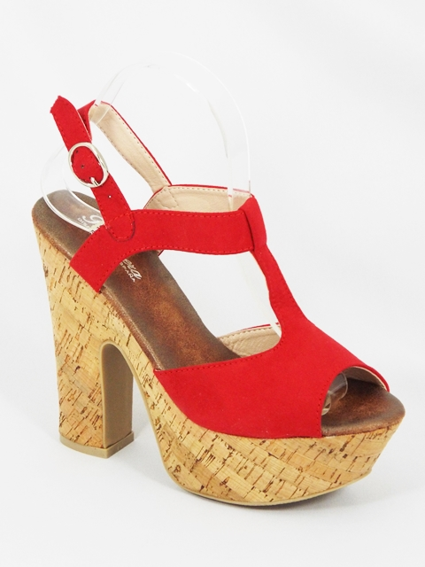Sandale dama rosii toc 14 cm Fryda