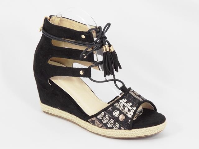 Sandale dama negre toc 7,5 cm Anna