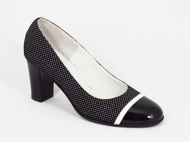 Pantofi dama piele negri toc 7 cm Gynna
