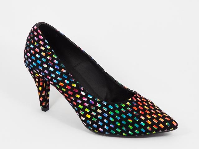 Pantofi dama piele intoarsa negri toc 8 cm Daniela