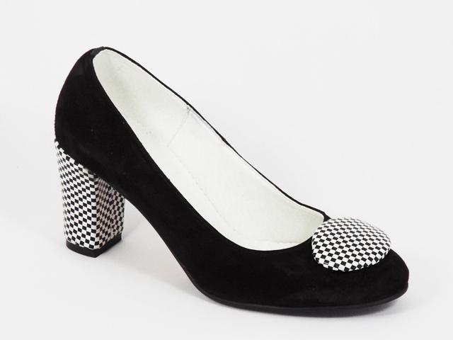 Pantofi dama piele intoarsa negri toc 7,5 cm Vyka