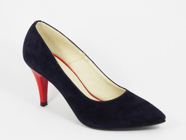 Pantofi dama piele intoarsa albastru inchis toc 7,5 cm Zenna