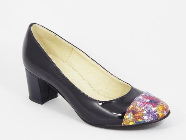 Pantofi dama piele lac albastru inchis toc 5,5 cm Laura