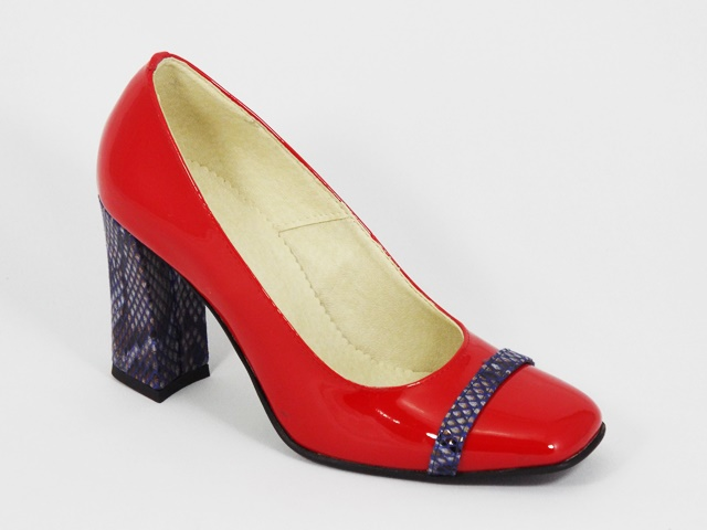 Pantofi Dama Piele Lac Rosii Toc 8 Cm Irina