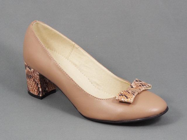 Pantofi dama piele bej toc 5,5 cm Soryna
