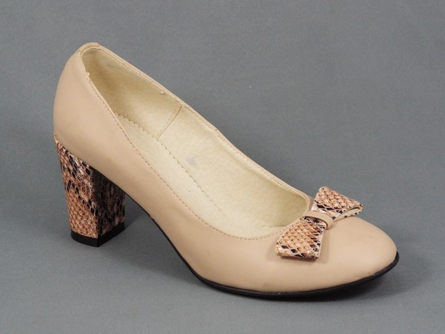 Pantofi dama piele bej toc 7,5 cm Doina