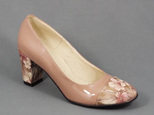 Pantofi dama piele bej lac toc 7 cm Doina