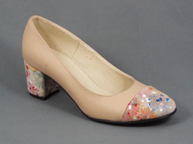 Pantofi Dama Piele Bej Toc 5 5 Cm Doryna
