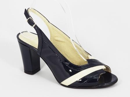 Sandale dama piele albastre lac toc 8 cm Londa