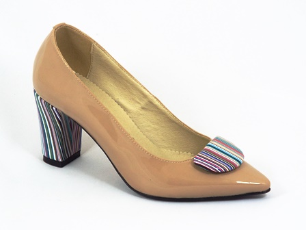 Pantofi dama piele bej lac Grynka