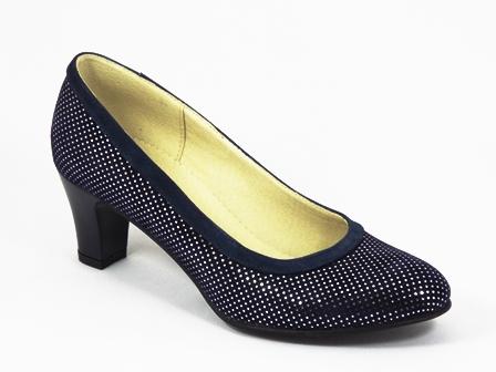 Pantofi dama piele albastri toc 6 cm Flores