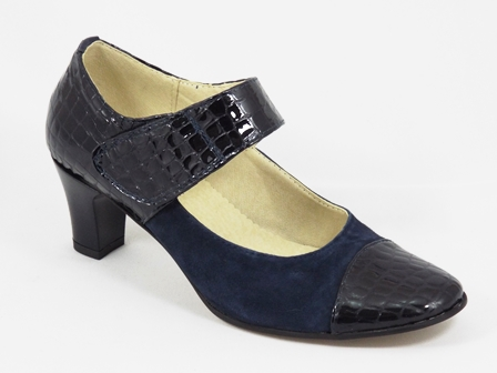 Pantofi dama piele albastri toc 6 cm Serra