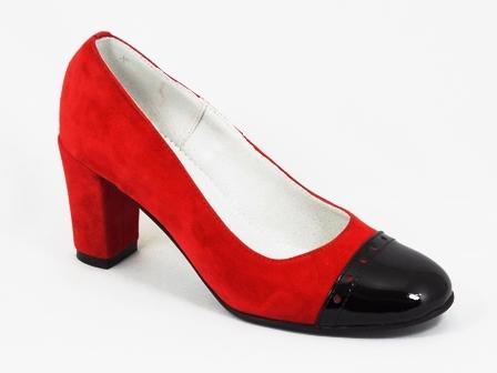 Pantofi dama piele rosii toc 7,5 cm Dory