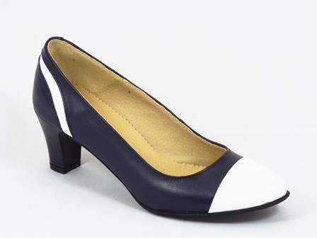 Pantofi dama piele albastri toc 6 cm Verra