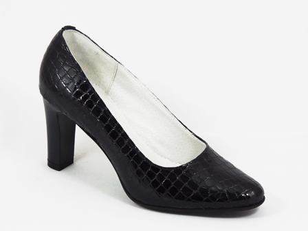 Pantofi dama piele negri toc 8 cm Sande
