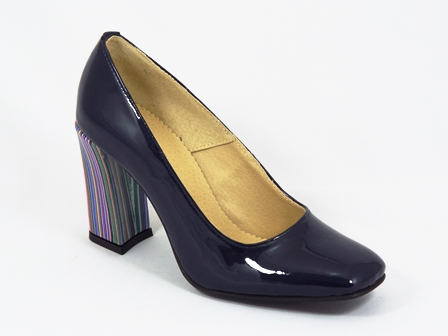 Pantofi dama piele lac bleumarin toc 8 cm Netty