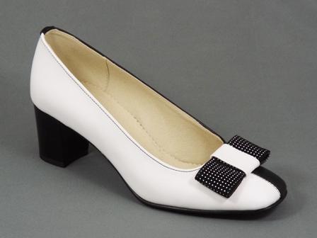 Pantofi dama piele alb cu negru toc 5,5 cm Laura