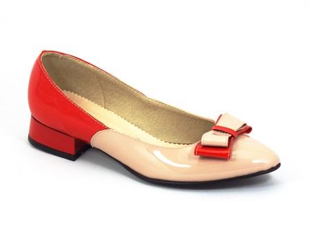Pantofi dama piele bej-rosu Zytte