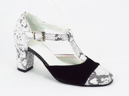 Pantofi dama piele negru cu gri Zonya
