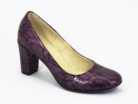 Pantofi dama piele mov croco Lilia