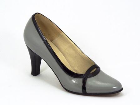 Pantofi dama piele gri lac Anna