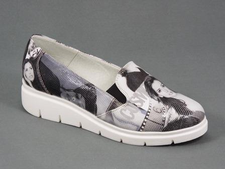 Pantofi dama piele negri cu alb Diana