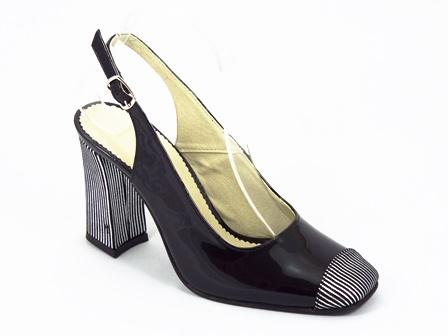 Sandale dama piele lac negre Laura