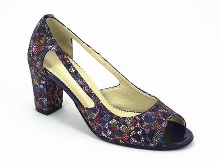 Sandale dama piele albastru floral Doyna