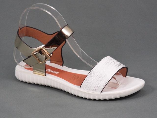 Sandale dama albe cu auriu Zyna